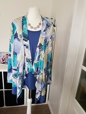 £12 • Buy Ladies  Forever By Michael Gold  Blue Built In Vest With Cardigan Top (Size L)