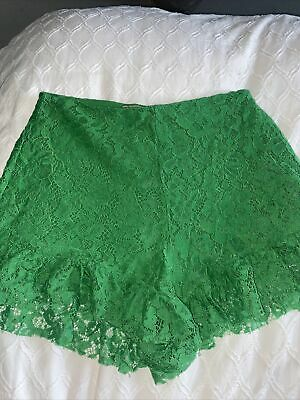 £3 • Buy Zara Green Lace Shorts With Frill Detailing Size S