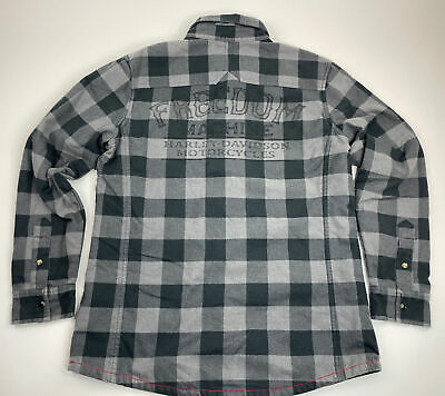 $ CDN85.01 • Buy Harley Davidson Quilted Lined Flannel Shirt Jacket  Freedom Mens Medium M Snap