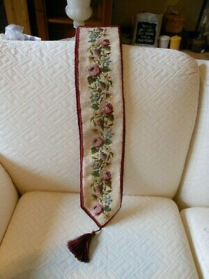 £15 • Buy Antique Tapestry Bell Pull Hand Made Needlepoint Roses Pattern
