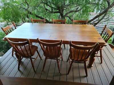 AU300 • Buy Australian Timber Dining Table With 8 Chairs
