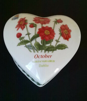 £2.99 • Buy Portmeirion Heart-shaped Covered Box   October  Dahlia By Susan Williams-Ellis