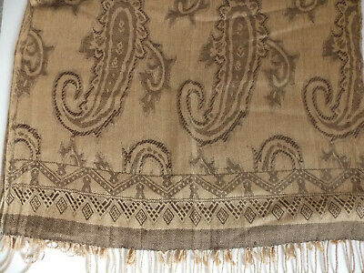 £2 • Buy Cute Boho Hippy Festival Evening Pashmina Style Brown Patterned Scarf