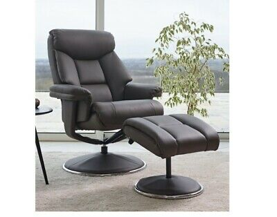 £299 • Buy GFA, Biarritz, Charcoal, Plush Faux Leather, Swivel Recliner And Stool