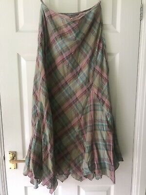 £7.99 • Buy PER UNA Steampunk Pink/Blue Checked Lined Cotton Skirt Size 12r