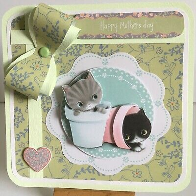 £1.49 • Buy 17: Handmade Extra Large Docraft Kittens Mothers Day Card Topper.