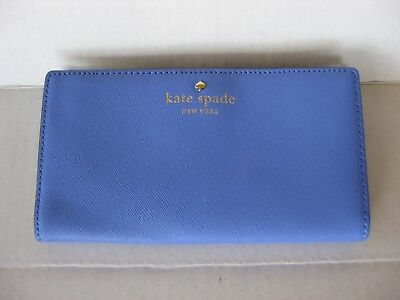 $ CDN35.16 • Buy NEW NWT Kate Spade Mikas Pond Stacy Bifold Leather Wallet Blue (Delphinium)