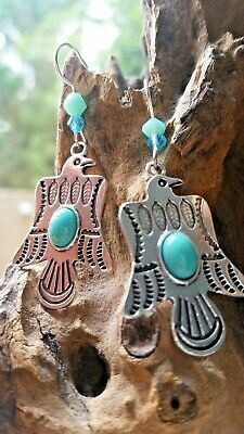 £19.99 • Buy Native American Earrings Eagle Thunderbird Turquoise Tribal Silver CLEANSED Blue