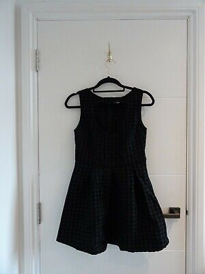 £13.99 • Buy Glamorous Black Houndstooth Heart Cut Out Dress Dogtooth Rock Punk Goth Chic