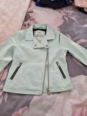 £3.50 • Buy Girls Baby Blue Faux Leather Jacket Only Worn Once Age 8-9 Very Soft
