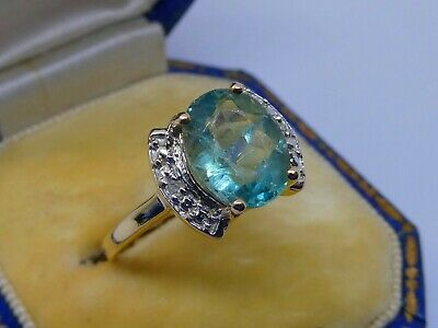 £139.95 • Buy Gorgeous Ladies 9ct Gold Green Blue Spinel & Diamond Dress Ring Size N 1/2, 2.7g