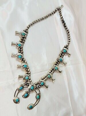 $ CDN601.20 • Buy Turquoise & Silver Squash Blossom Necklace