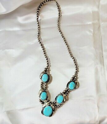 $ CDN601.20 • Buy Turquoise & Silver Southwestern Squash Blossom Necklace
