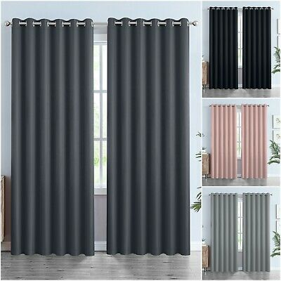 £27.99 • Buy Thick Thermal Blackout Curtains Eyelet Ring Top Heavy Ready Made Pair +Tie Backs