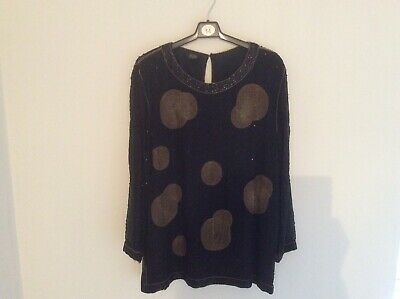 £5 • Buy Party, Cocktail, Christmas Top Size 14 , 100% Natural Silk With Glass Beads Sewn