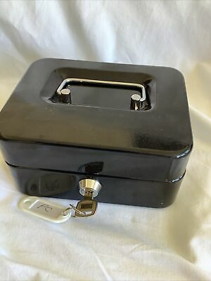 £3 • Buy Small Black  Lockable Petty Cash Tin With Coin Tray