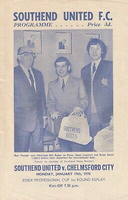 £2 • Buy Southend United V Chelmsford City, 19 January 1970, Essex Professional Cup