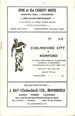 £2 • Buy Chelmsford City V Romford, 20 May 1968, Eastern Prof. Floodlight Cup Final