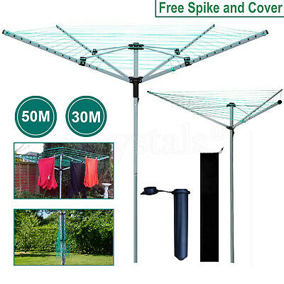 £29.79 • Buy 3/4 Arm Rotary Airer Outdoor Washing Line Clothes Dryer Free Ground Spike+Cover