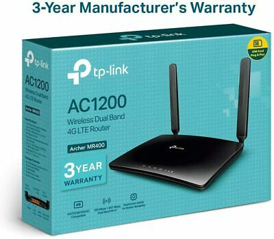 £89.99 • Buy TP-Link Archer MR400 AC1200 Dual Band 4G Mobile Wi-Fi Router, SIM Slot Unlocked,