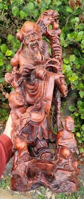 £121.32 • Buy Hardwood Chinese Carved Wood Sculpture Statue 22