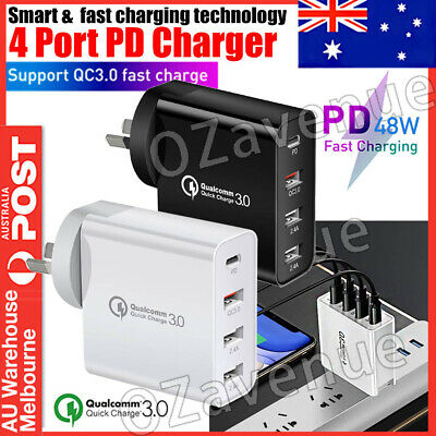 AU19.89 • Buy 48W 4-Port Qualcomm Charger Quick Charge 3.0 USB C Wall Power Adapter Type C AU