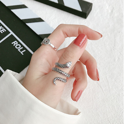 £3.45 • Buy Cool Snake Adjustable Ring 925 Sterling Silver Pit Women Girls Men Jewelry Gifts