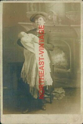 £3.99 • Buy Young Mother Holding Baby Standing Next To A Fireplace  Postcard Social History