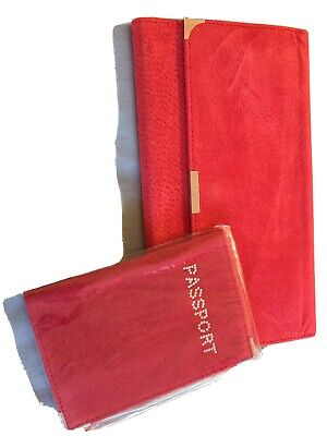 AU8 • Buy Red Suede Travel Wallet Set, Includes Passport Holder .New.