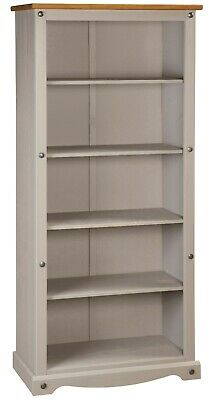 £99.99 • Buy Corona Grey Wax Tall Pine Bookcase 5 Book Shelves Mexican Solid Wood Living Room