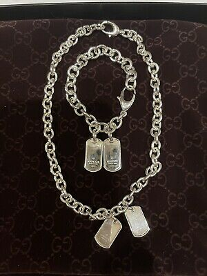£700 • Buy Gucci Sterling Silver Double Dog Tag Necklace And Bracelet
