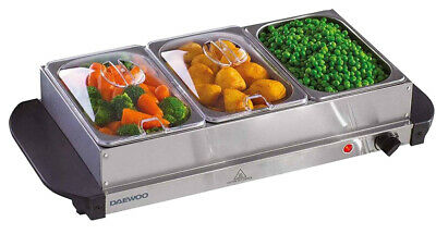 £32.99 • Buy New 1.5L Easy Clean Buffet Server 3 Warming Pans Cool Touch Trays Plate Warmer