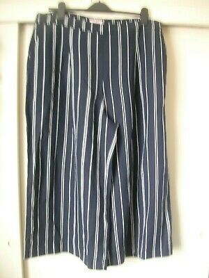 £4.20 • Buy Joules Navy/white Striped Cropped Wide Leg Trousers Size 18