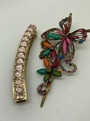 £7.99 • Buy Two Lovely Big Hair Clips Hair Accessories Butterfly Sparkly Stones Beaded Hair