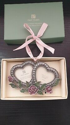 £8.49 • Buy Past Times 1.5x1.5  Small Rose Pewter Hanging Double Heart Photo Frame