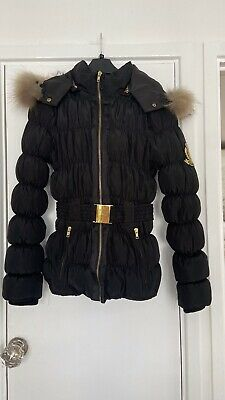 £29.99 • Buy Jolina Black Puffer Coat With Gold Buckle Belt And Fur Trim Size Small