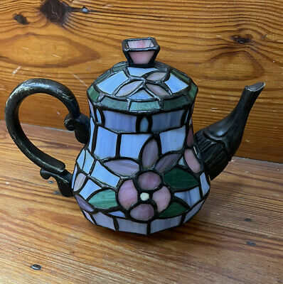 £15.11 • Buy Tiffany Style Cheyenne Stained Glass Teapot Table Lamp Candle Shade Cover