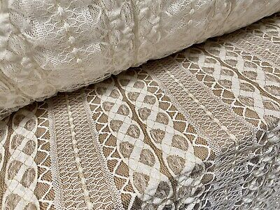 £4.99 • Buy Stretch Crochet Lace Fabric With Gold Metallic Detailing , Per Metre - Cream