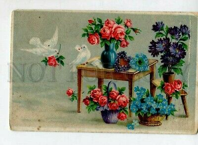 £21.81 • Buy 3148939 Valentine's Day PIGEONS Flowers In Baskets Vintage PC