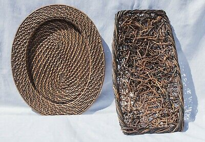 £5.70 • Buy Large Oval  Vintage Wicker Charger  And Ornate Wicker Fruit Bowl