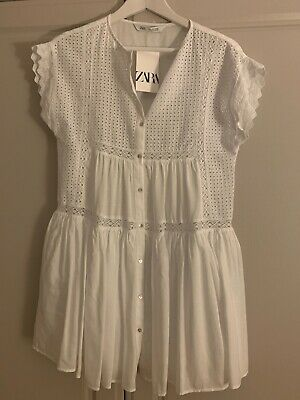 £20 • Buy Zara Short Embroidered Lace Broderie Dress White Small BNWT