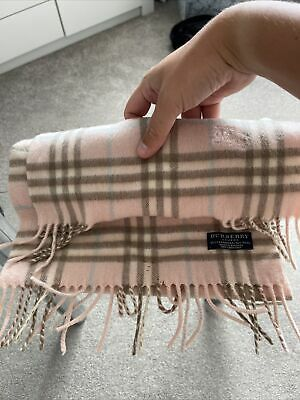 £18 • Buy Pink Chequered Genuine Burberry Scarf Pink 50% Cashmere & 50% Wool