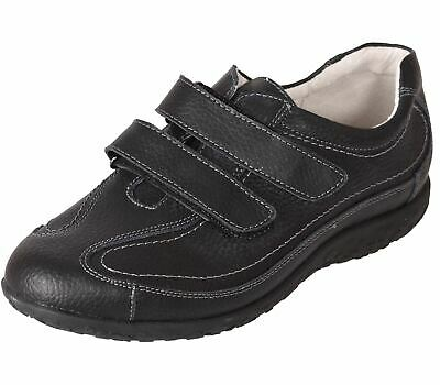 £22.99 • Buy Ladies Trainers Extra Wide Fitting Leather EEE Leisure Sneaker Sports Shoes 3-9
