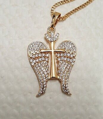 £15 • Buy Gold Tone Cross Crucifix Angel Wings Pave Pendant Necklace