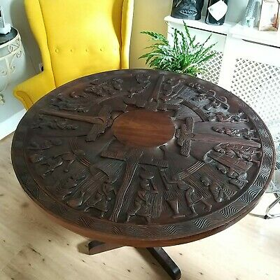 £275 • Buy Ornate Dining Table African Round Wooden Glass Top With 3 Folding Legs Carved