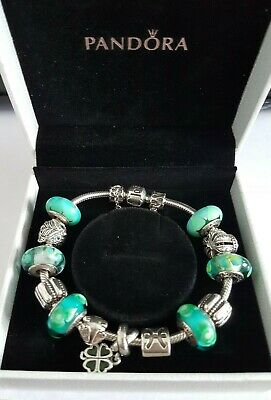 £80 • Buy Pandora Charm Bracelet With Clips/Safety Chain/Muranos/Clover/Owl/Crown/Pisces++