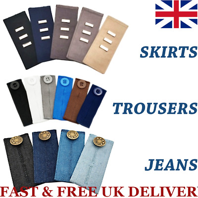 £3.35 • Buy Waist Band Extender Button Trouser Maternity Expander Jeans Elastic Collar Cuff