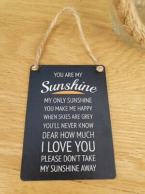 £2.95 • Buy You Are My Sunshine Gift Mini Metal Hanging Sign. Rustic Home Decor Gift.