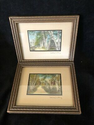 £42.58 • Buy Wallace Nutting Signed Birch Trees Pictures Print Hand Color Tinted Framed