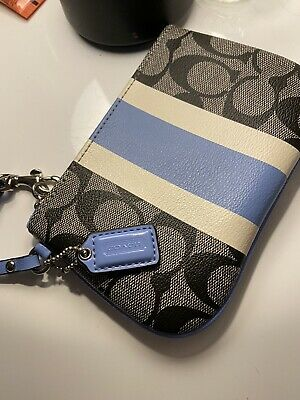 £12.50 • Buy new Coach Wristlet Grey And Cream And Blue Stripe Down The Middle